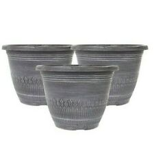 Very Pack Of 3 Wheat Bundle Design Brushed Planters Pots Black