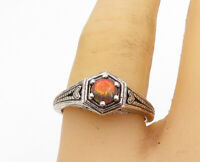 925 Sterling Silver - Vintage Fire Opal Love Heart Solitaire Ring Sz 8 - R18067