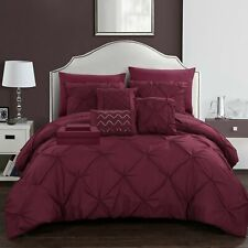 10 Piece Mycroft Pinch Pleat Bed In a Bag Comforter Set sheets Pillows Burgundy