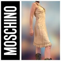 Moschino Vintage Gold Ruffle Dress Sleeveless Size 8