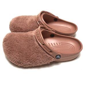 Crocs Classic Fuzz Mania Clog Sandal Pink Comfort Womens Size 10 Slip On