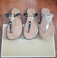 Michael Kors MK Logo Jelly Thong Flip Flop Sandal shoe 7 8 9 Black Silver Blue