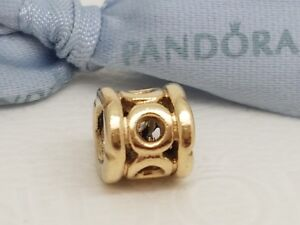 Authentic Pandora Solid 14k 14ct Gold Circles 'Border Links' Charm - 750223