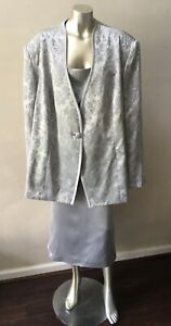 Jacquard Brocade 2 piece formal Satin Silver Party Skirt Suit Plus Size 34W