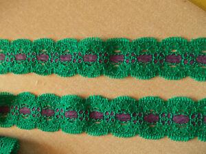 Emerald Green & Purple STRETCH shaped Lace 2.5m