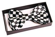 Black & White Checkered Bowtie Nerd Clown Tie Tuxedo Funny Racing Flag Checkers