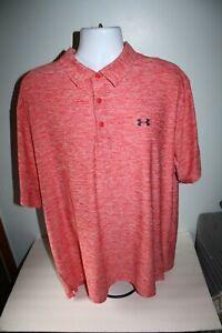 Men's Under Armour Golf Polo Shirt Heat Gear Short Sleeve Loose Fit  2XL