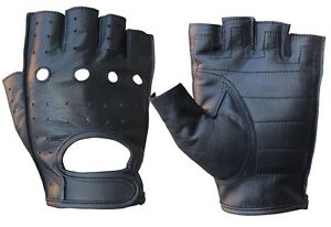 MENS COWHIDE LEATHER FINGERLESS DRIVING MOTORCYCLE BIKER GLOVES NEW XS-3XL