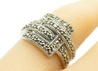 925 Sterling Silver - Vintage Marcasite Decorated Square Band Ring Sz 6 - R13029