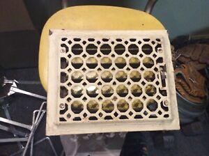 "Antique Cast Iron Heat Vent Grate Register , fits 8x10"" opening,  louvers"