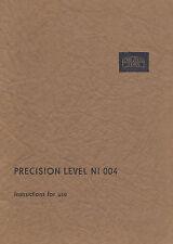 New Zeiss Jena Precision Level Ni 004 Instruction Manual