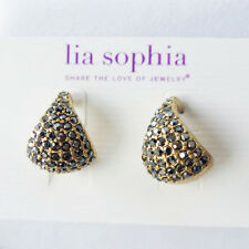 NEW Lia Sophia Kiam Collection Hematite Pave Crystal Earrings Gold SHIPS FREE