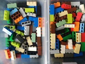 LEGO Brick 1X3 part no 3622 in Mixed colour joblot qty of 119 Ref:D4