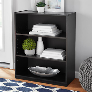 "3 Shelf Bookcase 31"" Organizer Home Closed-back Adjustable shelves Bookshelf"