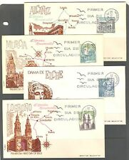 SPAIN 1969: ARCHITECTURE, CHURCHES, Scott 1581-1584 on 4 FDC'S