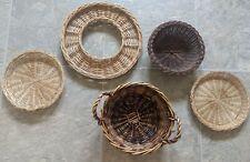 Set of 5 Bohemian Basket Wall Decor, Rattan Baskets Custom Set Wall Hangings