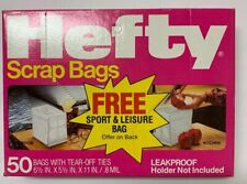"""Vintage 1984 Hefty Scrap Bags with Tear off Ties 50 Count 6.5"""" x 5.5"""" x 11"""" New!"""