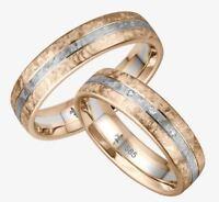 Giloy Gold 585 Trauringe 3 Brillanten 0,01ct  Rosé-/Weißgold oder Weiß-/Roségold