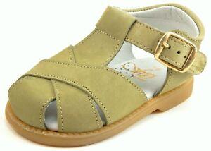 DE OSU/FARO - Baby/Toddler European Khaki Leather Fisherman Sandals -Size 3-6.5