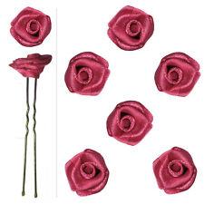 6 épingles pics cheveux chignon mariage mariée danse fleur satin rose foncé