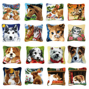 Latch Hook Rug Making kits for Kids Beginners Embroidery Animals Cushion Cover