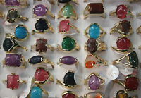 Fashion Job Lots 60pcs colorful nature stone ring gold plated lady's rings