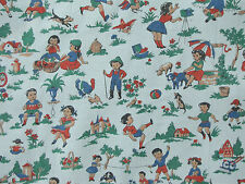 Vintage French Fabric charming children at play scenes pattern circa 1930 cotton