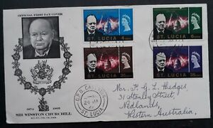 1966 St Lucia Sir Winston Churchill Memorial FDC ties 4 stamps Castries