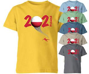Poland 2021 Football Kids T Shirt Boys Soccer Training Jersey Sports Tee Top