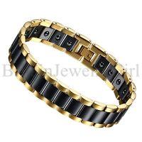 "8.6"" Men Punk Stainless Steel Healthy Magnetic Ceramic Link Wrist Chain Bracelet"