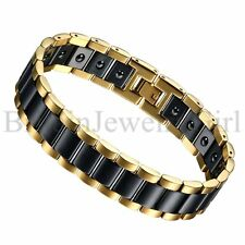 "8.6"" Men Punk Stainless Steel Healthy Magnetic Ceramic Link Wrist Chain Bracelet"