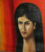 VINTAGE MODERNIST WOMAN PORTRAIT OIL PAINTING