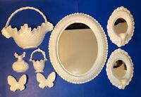 Vintage Burwood Homco Home Interiors Hobnail Mirror & Sconces - 8 Piece Set