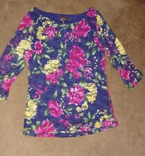 NEW! AMARI 3/4 Sleeve Lace Top Navy / Floral Lined Size: 2 ( 36 Bust)