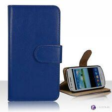 Fundas y carcasas color principal azul piel sintética para teléfonos móviles y PDAs Samsung
