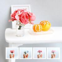 3Pcs 1:12 Scale Fake Plant Flower Dollhouse Toy Glass Bottle Flower Arrangeme YK