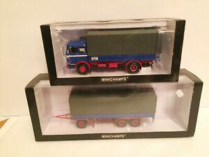 1/43 Truck Mercedes Benz LP 1620 Pritschenwagen and 3 axle trailer Minichamps