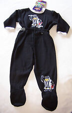 Collingwood Magpies AFL Boys Black Printed 2 Piece Fleece Pyjama Set Size 0 New