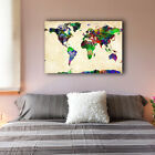New Watercolor World Map Stretched Canvas Prints Framed Wall Art Home Decor Gift