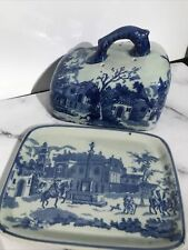 More details for vintage retro victoria ware flow blue cheese dome blue white country horse farm