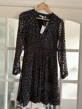 & Other Stories Black Blue Velvet Jacquard Cheetah Mini Dress Size 36 UK 10 BNWT