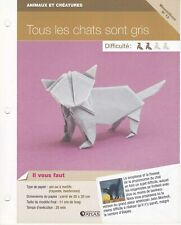 Origami modèle pliage papier Mammifère - Fiche Technique n°13 : Chat gris