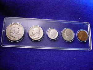1951-S 5 COIN SAN FRANCISCO MINT SET KEY DATE COINS 90% SILVER!   #395
