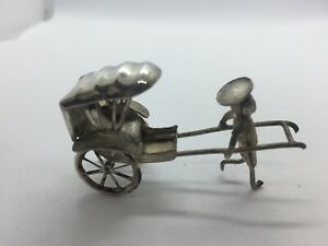 ANTIQUE VINTAGE SILVER CHINESE  FIGURINE AND RICKSHAW HANDMADE MOVABLE WHEELS