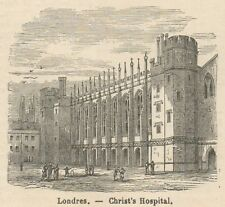 C8085 London - Christ's Hospital - Stampa antica - 1892 Engraving