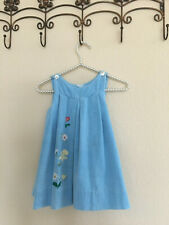VTG Girl Dress By Young World Bloomingoale's Blue Corduroy Made In Italy 5T
