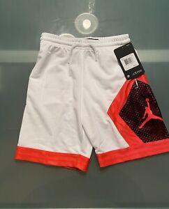 Nike Jordan Dri-Fit Diamond Shorts Boys 6 White & Orange Knit NWT $40