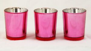 10 Rose Pink Glass Tealight Votive Candle Holder Wedding Party Table Event Decor