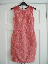 WAREHOUSE Coral Peach Lace Fitted Bodycon Occasion Dress Size 8