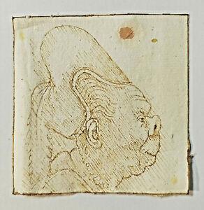 OLD MASTER DRAWING. Very rare After Leonardo Da Vinci. Head Sepia ink GROTESQUE
